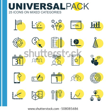 Set Of 25 Universal Editable Icons. Can Be Used For Web, Mobile And App Design. Includes Icons Such As Innovation, Date, Birthday Hat And More.