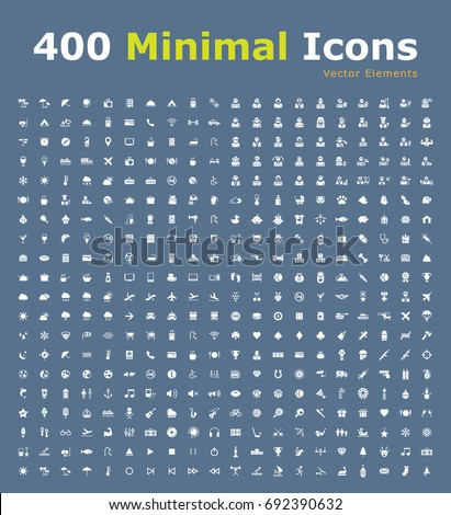 Set of 400 Universal Fitness Icons (Hotel, Travel, People, Restaurant, Home Appliances, Baby, Veterinary, Weather, Airplane, Casino, War, Music , Beach, Christmas and Sport ) . Isolated Elements