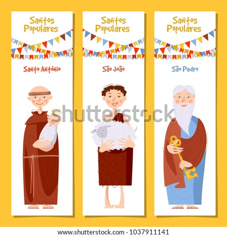 Set of 3 universal greeting cards  and bookmarks with Saint Anthony, Saint John, Saint Peter (Santo Antonio, Sao Joao, Sao Pedro). Template. Vector illustration.