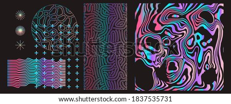 Set of universal holographic geometric elements and icons for futuristic minimal design. Abstract shapes and forms on dark background.