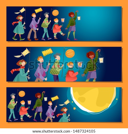 Set of 3 universal horizontal banners. Children with lanterns celebrate St. Martin's Day. Laternenumzug (Lantern parade). Vector illustration