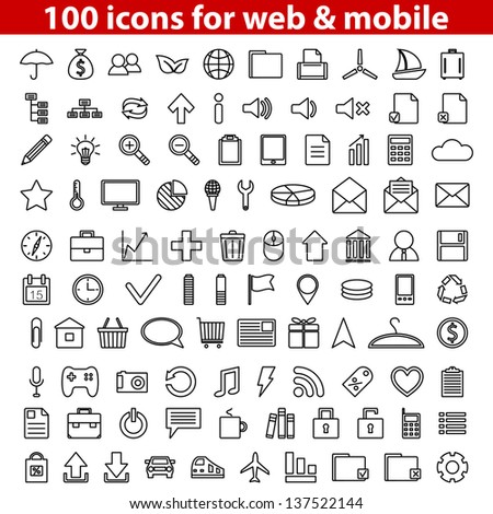 Set of 100 universal icons for web and mobile. Vector illustration.