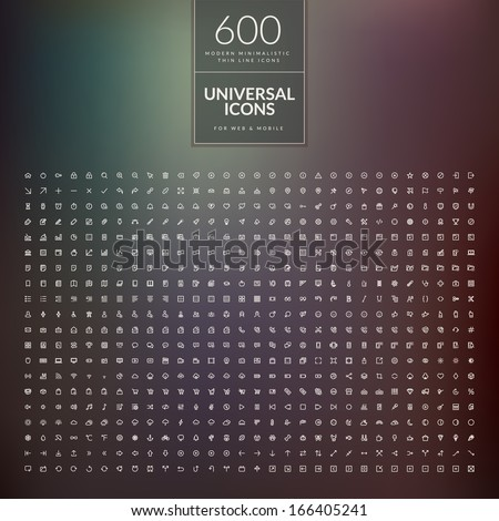 Set of 600 universal modern thin line icons for web and mobile #166405241