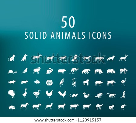 Set of 50 Universal Solid Animals Icons on Dark Background . Isolated Elements