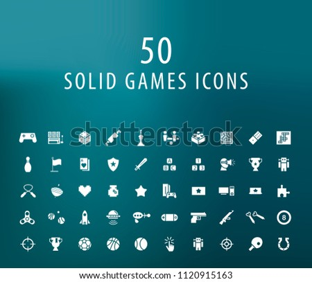 Set of 50 Universal Solid Games Icons on Dark Background . Isolated Elements