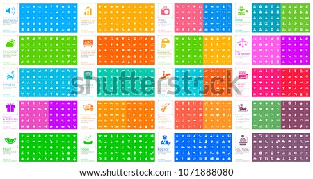 Set of 1000 Universal Solid Icons on Color Background . Isolated Vector Elements