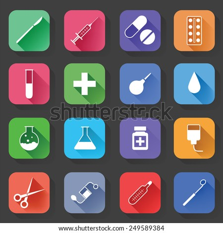 Set of Universal Standard Flat Isolated medical Icons. Medical Icons. Vector illustration