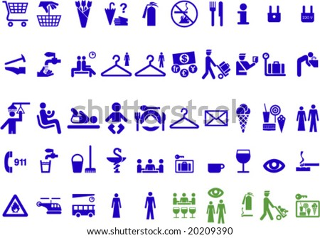 Set of universal useful symbols for graphic designers  (green jocular icons included) to create signs, web icons etc.