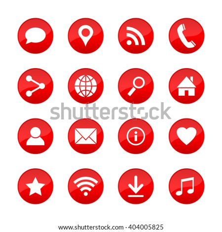 Set of universal web icons for media, communication, business, mobile and  meteorology. Collection of different elements on red circle buttons. Vector illustration. #404005825