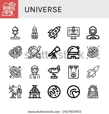 Set of universe icons such as Astronomer, Rocket, Astronaut, Black hole, Telescope, Observatory, Space, Galaxy, Spaceship, Stargazing, Mars, Pluto , universe