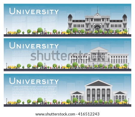 Set of university study banners. Vector illustration. Students go to the gray building. University with blue sky and green tree. Banner with copy space.