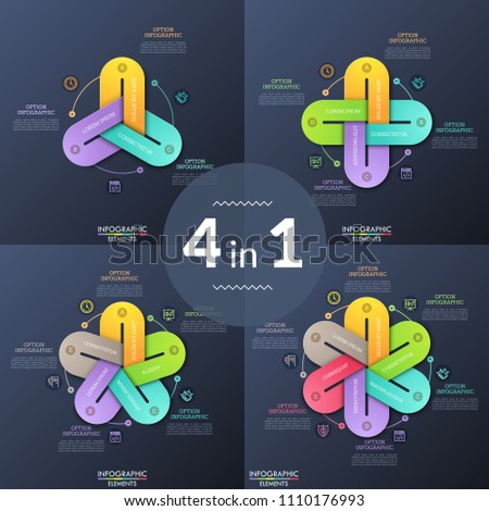 Set of unusual infographic design templates. Round charts with connected colorful chain links or loops, thin line pictograms and text boxes. Modern vector illustration for presentation, brochure.