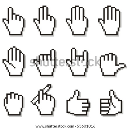 Set of unusual pixelated hand icons.