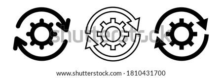 Set of update system icons with gears, loading or updating files, install new software, operating system, update support, setting options, maintenance, adjusting app process, service concept Foto stock ©
