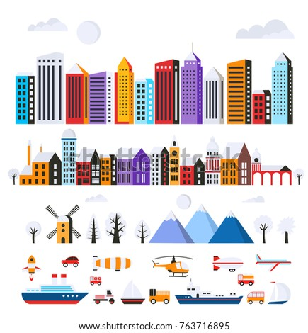 Set of urban flat buildings of different colors for creativity and design, includes skyscrapers, houses, shops offices, natural sites, trees, mountains, transport