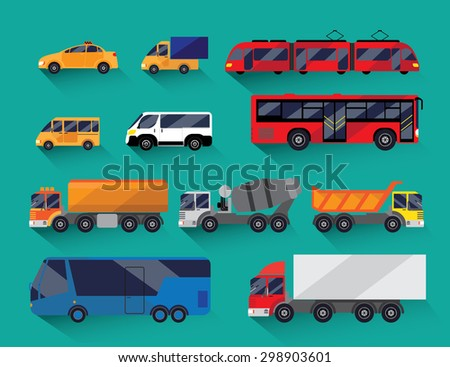 Set of urban public and freight transport. Green background. It includes bus, minibus, taxi, tram and truck fuel truck, cement and others. Performed flat.