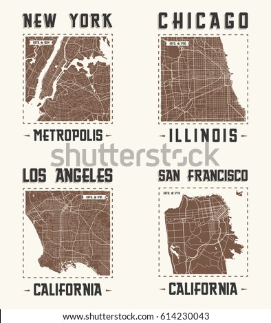 set of us cities vintage t...