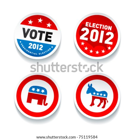 Set of US presidential election stickers in 2012 - stock vector