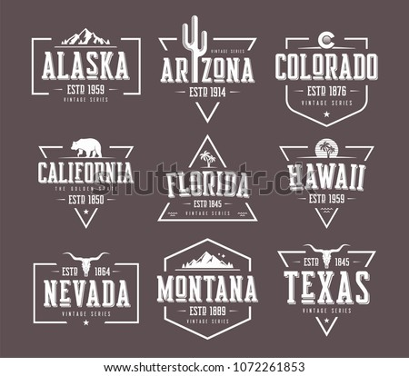 set of us states vintage vector ...