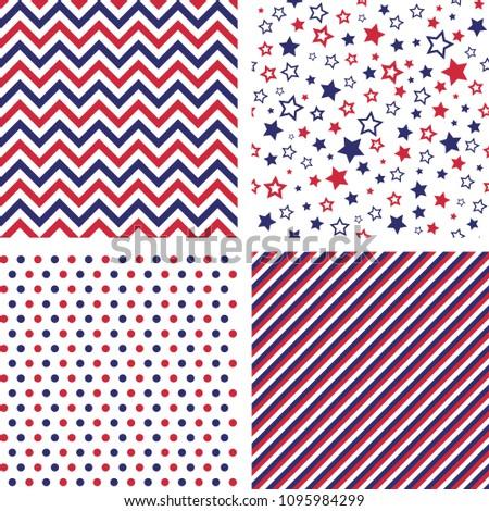 Set of US style vector seamless patterns. Print backgrounds. Stars, chevron, polka dot, striped