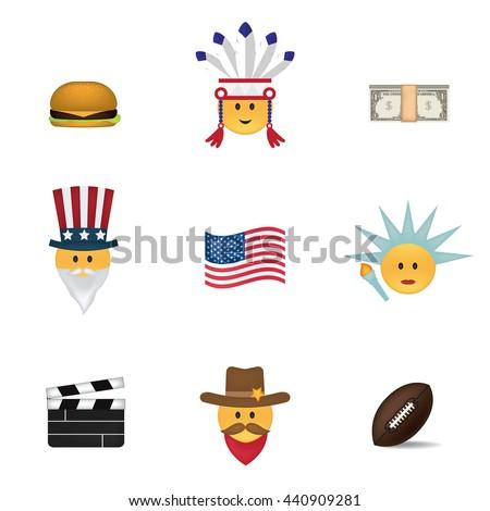 set of usa emoticon vector