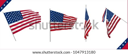 Set of USA flags waving in solemn or diplomacy view. Vector illustration