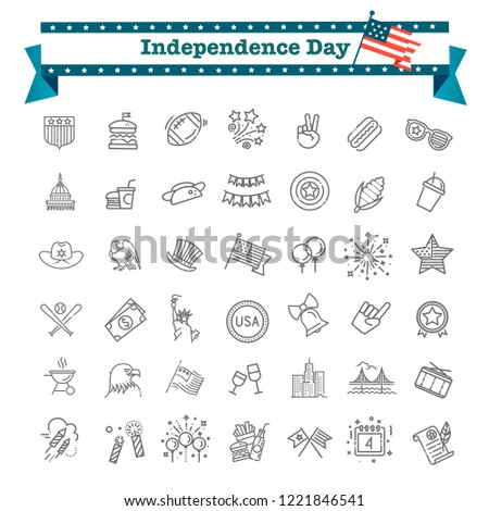 Set of 42 USA Independence Day line icons suitable for web, infographics and apps