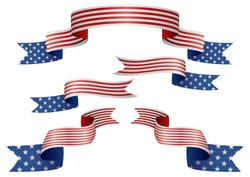Set of USA insignia in different shape of ribbons