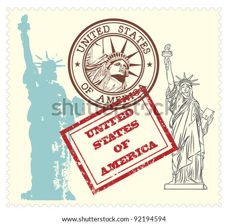 set of USA stamps and statue of Liberty illustration