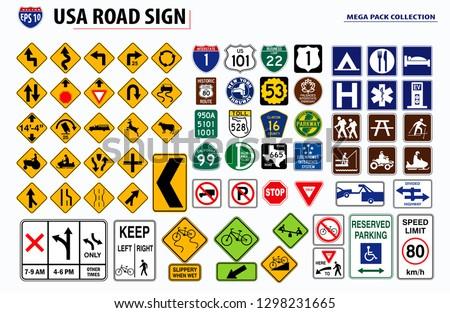 set of USA street sign. easy to modify #1298231665