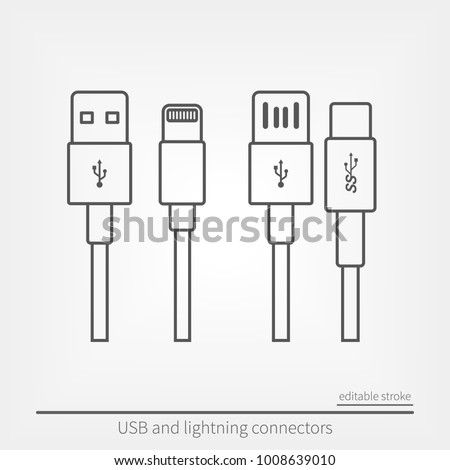 Set of USB and USB type-C interfaces. Stock photo ©