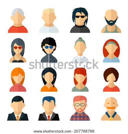 Shutterstock Set of user avatar icons in flat style with diverse men and women  old to young  professionals to sporty  bald to colorful harstyles  business to casual attire