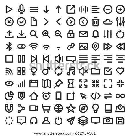Set of user interface icons on bold line style