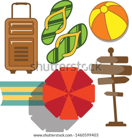 Set of vacation and travel icon in flat style. Vector icon set for element design. Vector illustration EPS.8 EPS.10