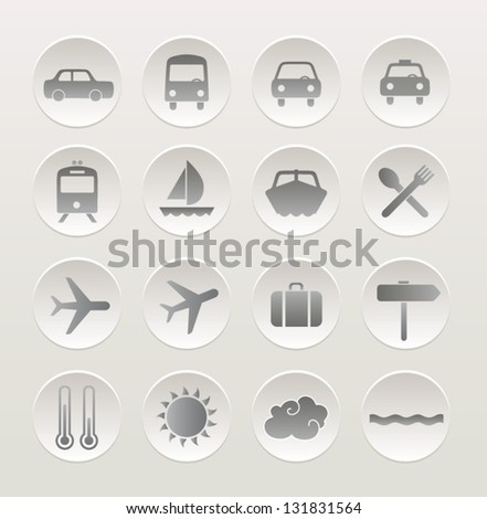 Set of vacation and travel icons. Vector icon set