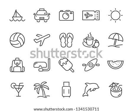 set of vacation icons, such as travel, summer, trip, holiday, beach, season #1341530711