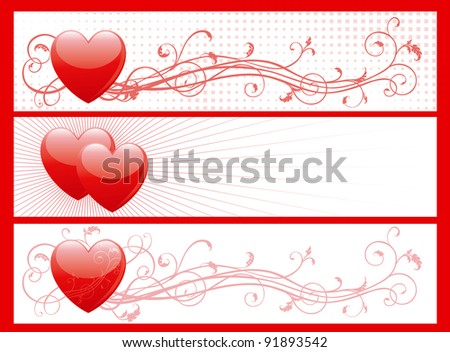 set of valentin's day banners. Vector illustration of some abstract  backgrounds with hearts for internet banners