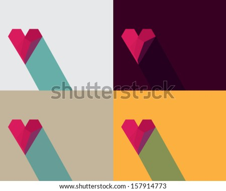 set of Valentine card with effect of paper heart, vector eps10 illustration on colorful background.