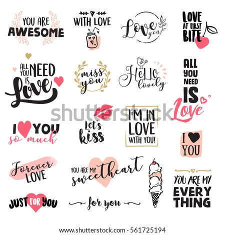 Set of Valentine day stickers and elements. Flat design vector illustrations for greeting cards, love messages, social media, networking, web design, printed material.