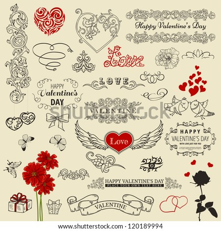 Set of valentine design elements - stock vector