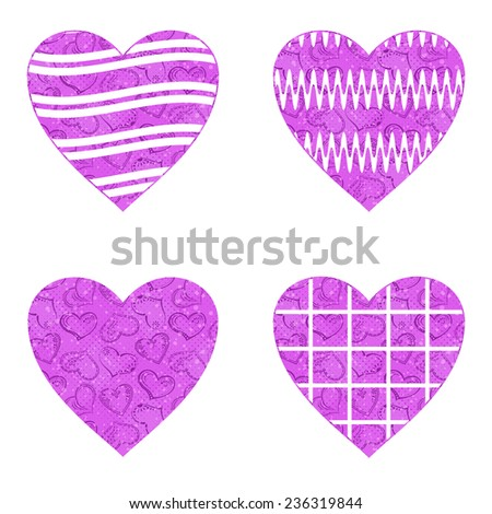 Set Of Valentine Hearts With Abstract Patterns Holiday Symbols Of