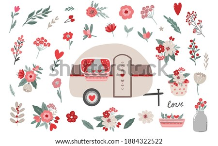 Set of Valentine's da floral clipart and illustration elements, Valentine's day romantic camper clipart. Flowers and branches. Stickers, planner clipart, digital scandinavian style vector drawing