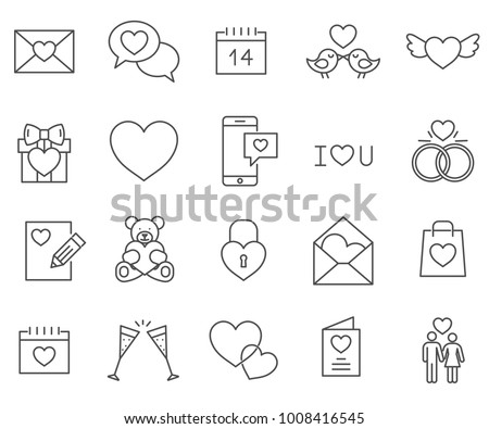 set of valentine's day and love