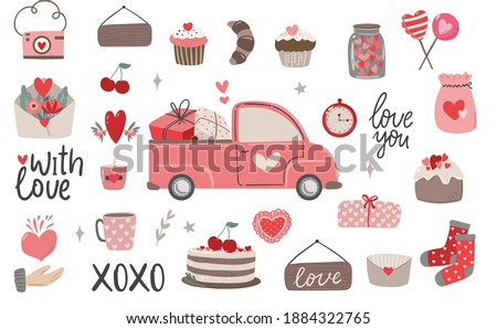 Set of Valentine's day bohemian clipart, valentine's truck, cupcales, florals, hearts, cake. Boho Valentine's day clipart vector love elements on white background in trendy scandinavian style.