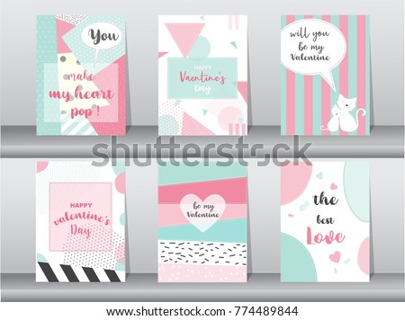 Set of Valentine's day card on retro pattern design,love,cute vector,Vector illustrations #774489844