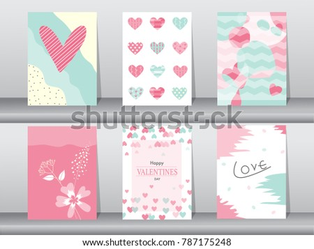 Set of Valentine's day card on retro pattern design,love,cute vector,Vector illustrations