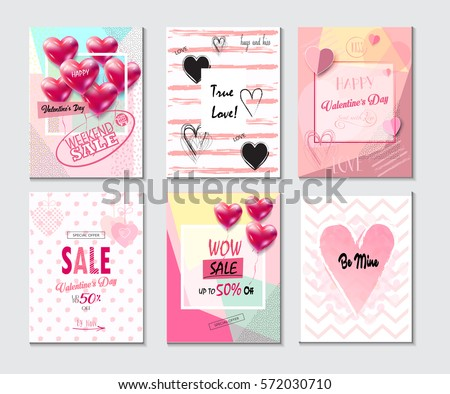 Set of Valentine's day card, sale and web banners flyers templates with lettering, hearts and balloons. Typography poster card, label, brochure banner design collection. Love, Romance Vector promotion #572030710