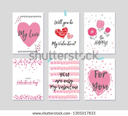 Set of Valentine's day greeting cards. Brush lettering. Hand drawn elements. #1305017833
