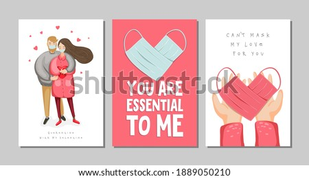 Set of Valentine's day greeting cards with couple, heart made of medical face mask on hands and lettering. vector eps 10
