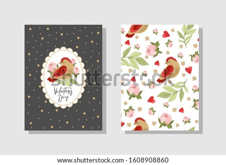 Set of Valentine's day greeting cards with flowers, sweets, branches, romantic characters and handwritten text.  Vector illustration. Template for invitations, greetings, greetings, posters.